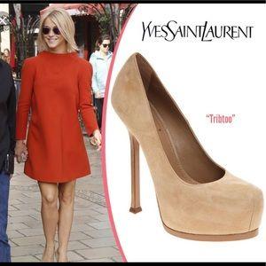 Yves Saint Laurent Tribtoo brown suede heels